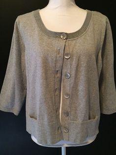 J Jill XL Stretch Grey Button Front Cardigan Knit Sweater Top Women's Size XL #JJill #Cardigan