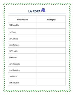 La Ropa -Spanish Clothing- Vocabulary list and interactive package from La Señora H on TeachersNotebook.com -  (2 pages)  - This worksheet is a great tool to introduce the clothing vocabulary to students. Students will have a complete list that will enable them to describe their clothing.