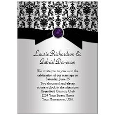 Black And Silver Damask Purple Jewel Wedding Invit » Wedding ...