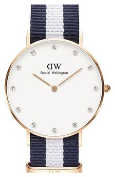Daniel Wellington 'Classy Glasgow' Crystal Index NATO Strap Watch, 34mm available at #Nordstrom