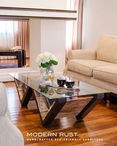 M Street coffee table / Wood and glass top coffee by ModernRust, $479.00