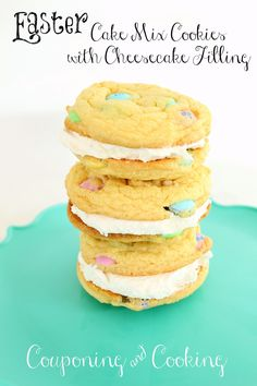 Easter Cake Mix Cookies With Cheesecake Filling. Pinned for the filling - made with only Cool Whip and cheesecake pudding mix? Hmmmm....
