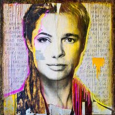 """""""Made for Each Other - Brad & Angelina"""" Mixed_Media Art painting of Angelina Jolie and Brad Pitt by Anyes Galleani Streetart inspired Popart - 36x36 available at Galleani-Art.com"""