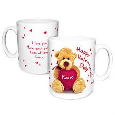 Personalised Heart Teddy Bear VALENTINES DAY Mug - Gift for Him and Her