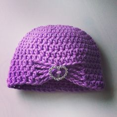 Purple baby beanie with sparkle heart