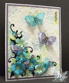 It is another wonderful Timeless Tuesday Challenge over at Flourishes and Marie Oberg (our guest designer) created this over the top stunning card. She used the Butterflies and Blossoms stamp set for this card, a whole lot of fussy cutting was done to make this card look as it does. Be sure to check out Flourishes and her blog for more details.