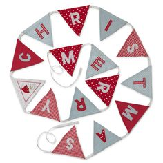 Merry Christmas Bunting - A lovely Christmas decoration to bring out year after year - it'll add instant cheer to your kitchen or hallway.