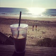 Iced Coffee on the beach in the morning......