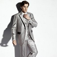 2016 New Men Wedding Bridegroom Silver Fashion Three Sets Prom Suits Jacket + Pants + Vest+TieMen Blazer Dress Tuxedos Best Mens Suits Slim Fit Suit White Dinner Jacket From Xfdress, $81.16  Dhgate.Com