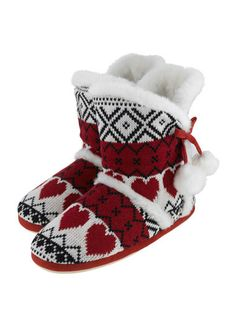 Heart Jacquard Design Booty-Style Slippers - Red Mix | Boux Avenue