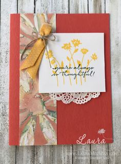 """Laura Milligan, Stampin' Up! Demonstrator I'd Rather """"Bee"""" Stampin'! Paper Crafts, Diy Crafts, Some Ideas, Flower Cards, Paper Design, I Card, Scrapbook Pages, Thank You Cards, Stampin Up"""