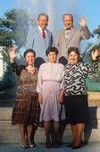 Albanian immigrant family celebrating American citizenship,