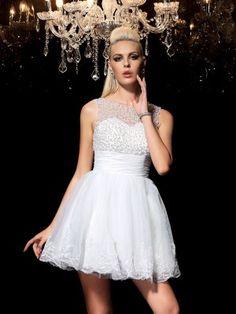 1600298845 Fashion A-Line Princess Beading Sleeveless SheerNeck Short Elastic Woven  Satin Cocktail
