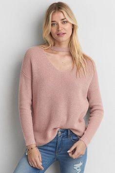 American Eagle Outfitters AE Choker Neck Sweater https://api.shopstyle.com/action/apiVisitRetailer?id=621823801&pid=uid8100-34415590-43