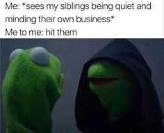 Me Me to me kermit the frog siblings Funny Kermit Memes, Stupid Funny Memes, Funny Relatable Memes, Haha Funny, Funny Posts, Funny Quotes, Hilarious, Funny Stuff, Funny Shit