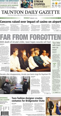 The front page of the Taunton Daily Gazette for Monday, Feb. 1, 2016.
