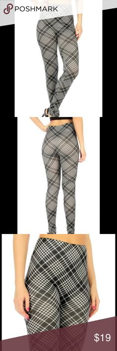 Plaid Women's Leggings Two tone plaid cotton blend women's leggings Black/White One size fits most  Double layered stretchable waistband, Double layered ankle trim. NWT.  80% Cotton 20% Polyester Pants Leggings