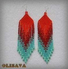 Beautiful beaded dangle peyote earrings with fringe.Native American style, Boho style. Earrings made ​​from Czech beads. 925 sterling silver ear wires.