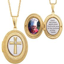 "Walmart: Two-Tone Memorial Cross 14kt Gold-Plated Locket Pendant, 20"""