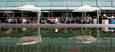 Café Kiasma. Kuva: Kansallisgalleria / Pirje Mykkänen Helsinki, Terrace, Bathing, Sun, Museum, Bath, Sidewalk Cafe, Patio