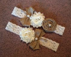 Burlap Wedding Garter, Unique Burlap Rustic Style Burlap Flower Bridal Garter Belt, Rustic Wedding Garter, Fall Bridal Garter Set by SpecialTouchBridal on Etsy