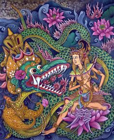 Hand Painting Balinese Bali Traditional Ramayana Dragon Arjuna Very Intricate Bali Painting, Painting & Drawing, Barong Bali, Indonesian Art, Hindu Art, Driftwood Art, Beach Art, Indian Art, Art Google