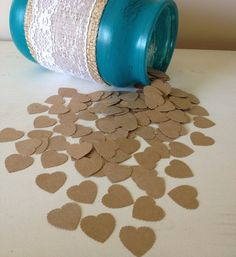 600 Natural Heart Wedding Confetti- Vintage Shabby Chic Rustic - wedding table decoration, table scatters on Etsy, $12.00
