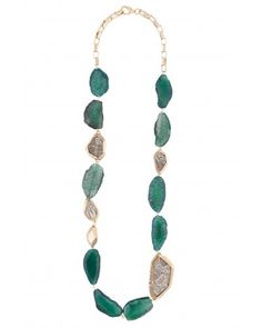 Kara Ross: Editorial Long Mixture Gemstone Bead Necklace, Gold with Emerald Stones and Gold Washed Ring Lizard Inset