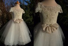 SHEERA Ecru Gold Lace Glitter Tulle Flower Girl by AtelierArtistia
