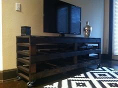 our second pallet project--entertainment system.