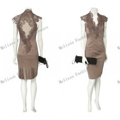 2013 new arrival Glamorous charming V-neckline sheath Applique about knee cocktail dress US $118.89