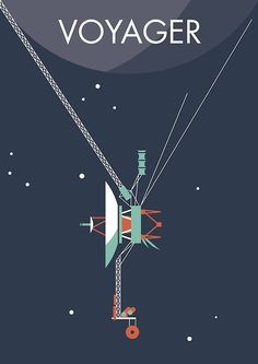 Voyager 1 & 2 - Two NASA space probes, one grand tour of the solar system - Jupiter, Uranus, Saturn and Neptune. Poster Design, Graphic Design, Space Probe, Space Illustration, Travel Illustration, Space And Astronomy, Nasa Space, Vintage Space, Carl Sagan