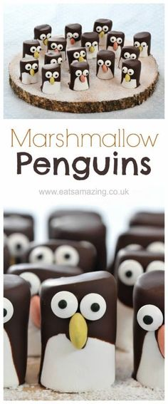 Easy marshmallow penguins - cute Christmas food idea for kids - they make great party food treats - Eats Amazing UK #Christmas #Christmasfood #funfood #kidsfood #penguin #marshmallow #foodart #winter #winterfood #cookingwithkids