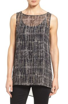 Eileen Fisher Print Sheer Silk Bateau Neck Long Shell (Regular & Petite) available at #Nordstrom