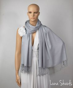 Light Gray Shawl Wedding Shawl Silver Gray Pashmina by LunaShawls
