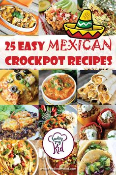 25 Easy Mexican Crockpot Recipes - From enchiladas and taquitos to tacos, burritos and soups, these flavorful Mexican crockpot recipes will soon top your families list of dinner favorites. recipe mexican Mexican Crockpot Recipes You Can Make Right At Home Vegetarian Mexican Recipes, Crockpot Recipes Mexican, Healthy Crockpot Recipes, Slow Cooker Recipes, Beef Recipes, Chicken Recipes, Cooking Recipes, Crockpot Meals, Dinner Crockpot