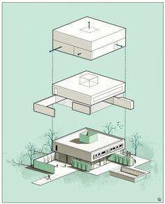 kubica house on Behance Conceptual Architecture, Architecture Concept Drawings, Pavilion Architecture, Architecture Visualization, Architecture Portfolio, Architecture Design, Architecture Diagrams, Famous Architecture, Minecraft Architecture