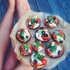 hi my friends! i hope you are all happy!! this was just an amazing dinner, clean eggplant base pizza bites. i already told you i'm not 100% vegan anymore, and hey i'm half italian i just need cheese sometimes! i also used this moment to show you my 2nd tattoo! oh and got the inspiration and recipe by @nourish_not_punish_ , thank you sjana☺️ #Padgram