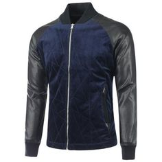 Raglan Sleeve PU Panel Zipper Up Jacket