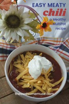 A great recipe for parties, football games, and even family game night is to make some tasty homemade chili and set up a chili bar. Our easy meaty chili makes a great chili base to set up with toppings galore, and it's made so easily in the Mealthy MultiPot. It saves time and tastes so good. #ad #theawesomemuse #MealthyMoms #chili #recipe #tailgating #pressurecooking #MultiPot