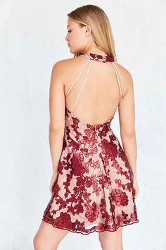 Dress The Population Abbie Embroidered Mesh Dress