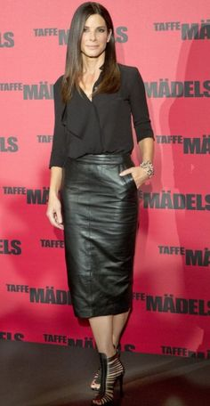 Sandra Bullock  Here is another blouse and skirt combination with a monochromatic look. I also love the contrast between the soft fabric o...