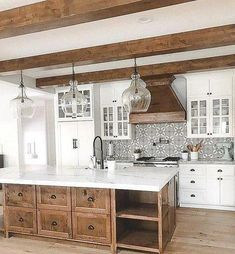 There is no question that designing a new kitchen layout for a large kitchen is much easier than for a small kitchen. A large kitchen provides a designer with adequate space to incorporate many convenient kitchen accessories such as wall ovens, raised. Home Decor Kitchen, New Kitchen, Kitchen Ideas, Awesome Kitchen, Kitchen Designs, Kitchen Interior, Country Kitchen, Kitchen Inspiration, Beautiful Kitchen