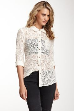 Sheer Button Up Long Sleeve Top