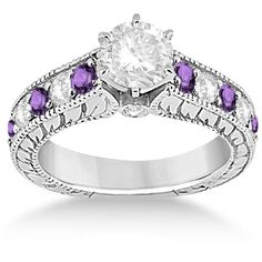 Allurez Vintage Diamond & Amethyst Engagement Ring Setting 14k White... ($1,875) ❤ liked on Polyvore featuring jewelry, rings, filigree engagement ring, vintage white gold ring, diamond engagement rings, diamond rings and round diamond ring