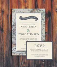 Wedding invitation with a travel theme