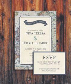 Wedding invitation with a travel theme