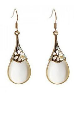 Pretty.  Pair Of Bohemian Style Delicate Carved Floral Embellished White Waterdrop Shape Opal Earrings For Women