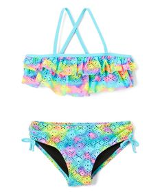 Breaking Waves Rainbow Tie-Dye Ruffle Bikini - Girls | zulily