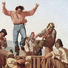 The Jolly Flatboatmen (detail), by George Caleb Bingham | Culture ...